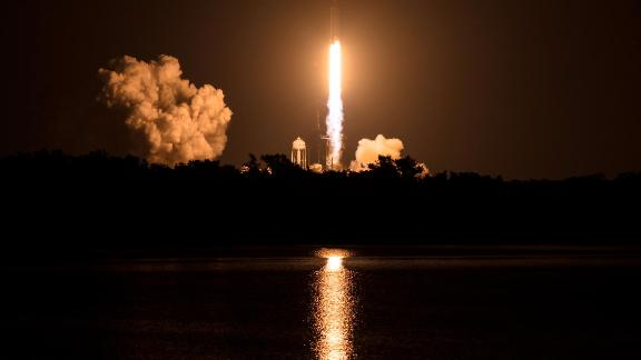 A SpaceX Falcon Heavy rocket carrying 24 satellites as part of the Department of Defense