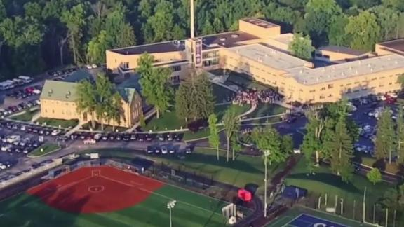 An aerial view of Cathedral High School in Indianapolis.