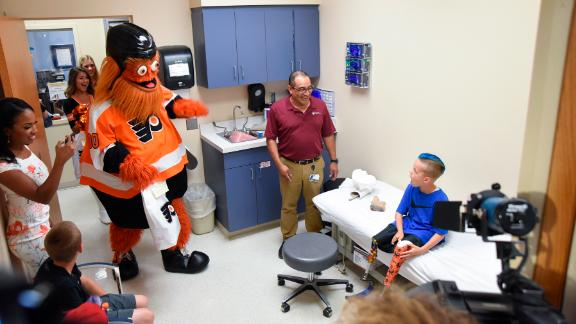 Surprise! Gritty stunned Caiden, who had just received his custom Gritty prosthetic leg.