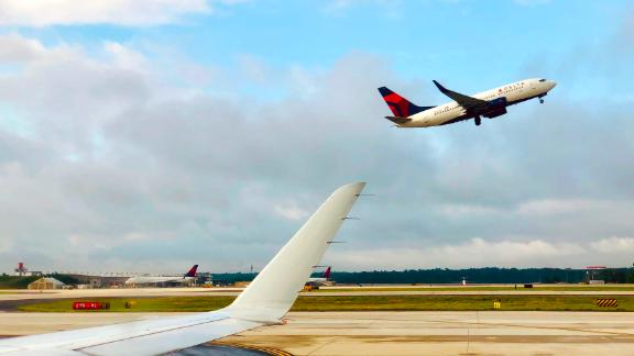 A Delta Airlines airplane takes off from Atlanta International Airport, Georgia on June 10, 2019. (Photo by Daniel SLIM / AFP)        (Photo credit should read DANIEL SLIM/AFP/Getty Images)