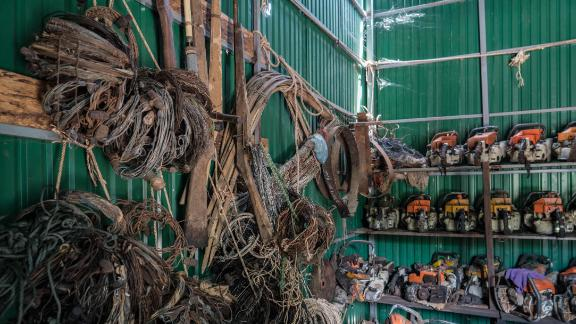 Snares, home-made guns and chainsaws confiscated by Wildlife Alliance's rangers in Cambodia's Cardamom rainforest.