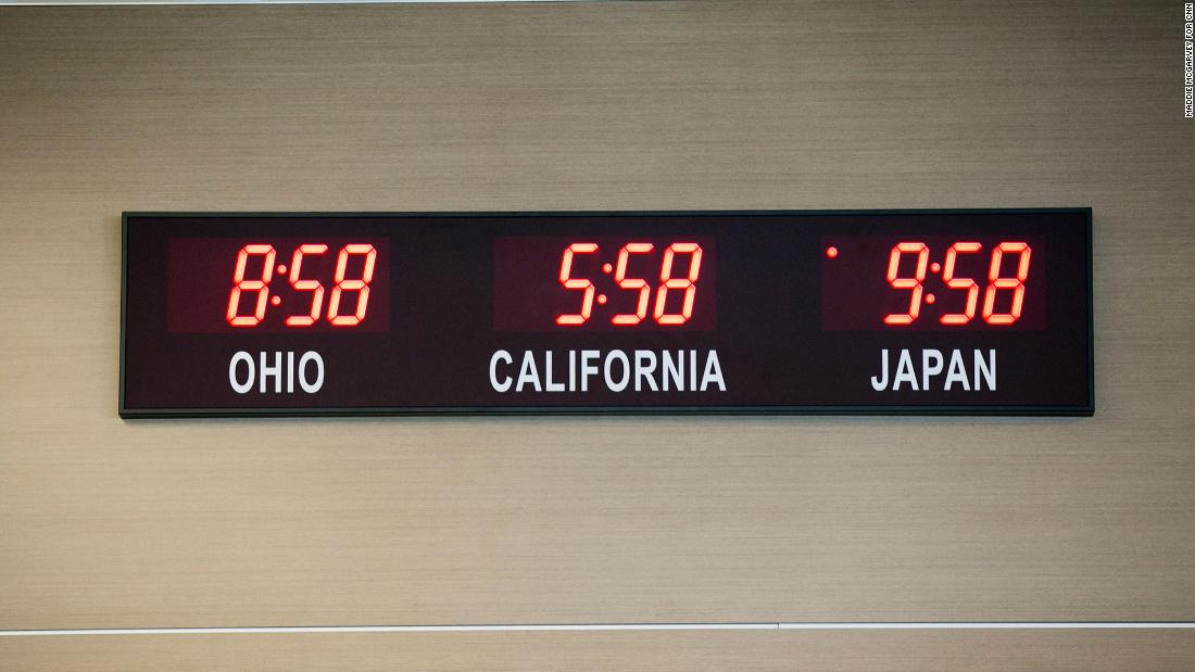 A clock showing the time in Ohio, California and Japan hangs in the Heritage Center in Marysville. Honda Motor chose Marysville owing to the friendly and hardworking locals, presence of a testing track at the Transport Research Center in East Liberty, Ohio, and a favorable investment climate.