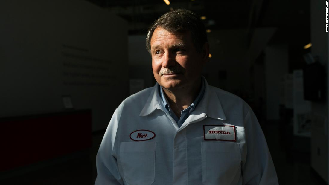 "Neil Vining was one of the 64 original hires at Honda's first motorcycle plant in Marysville. He is now a chief engineer. He says it's Honda's work culture, which challenges workers to keep growing, that made him want to stay. ""Mr. Honda believed ordinary people could do extraordinary things,"" Vining said."