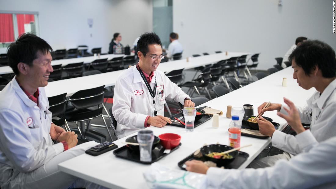 Japanese associates eat lunch at the Honda plant. The cafeteria's options include Japanese cuisine. Over the decades, local businesses in Ohio have expanded to cater to the Japanese population.