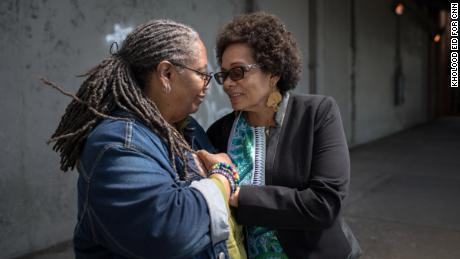 Donna Sue Johnson and Marie Spivey visit the underpass in the Bronx where they had their first kiss.
