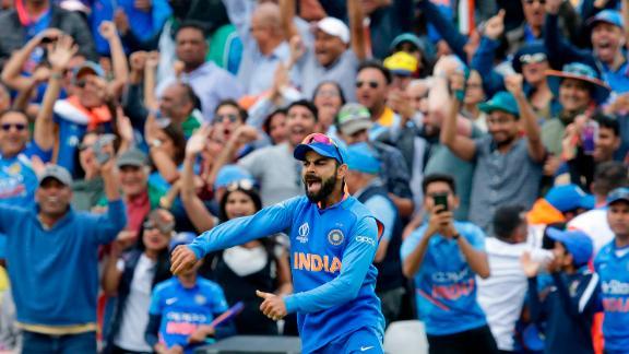 Kohli celebrates during India's World Cup victory over Australia.