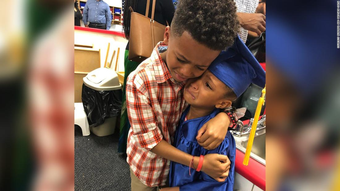 This big brother can't contain his excitement for his little sister's pre-K graduation