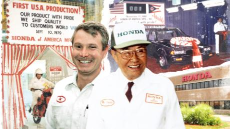 Neil Vining, left, was one of 64 original hires made by Honda when it opened its first, ground-breaking plant on US soil in 1979.