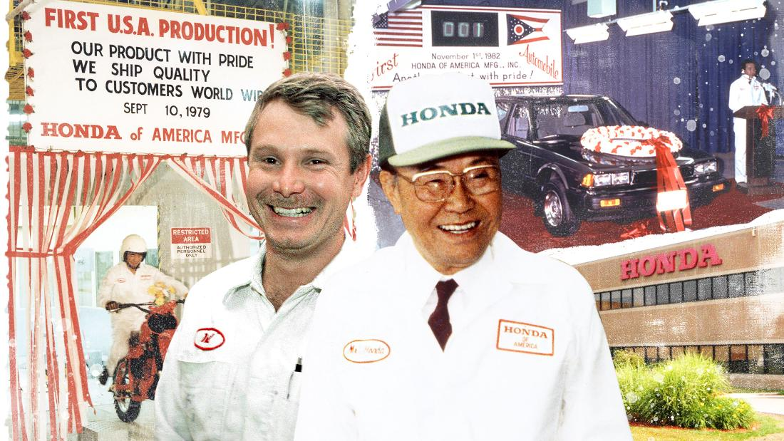 Neil Vining, left, was one of 64 original hires made when Honda set up its first, ground-breaking plant on US soil in 1979.