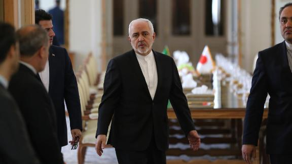 Iranian Foreign Minister Mohammad Javad Zarif arrives to meet his Japanese counterpart in Tehran on June 12, 2019.