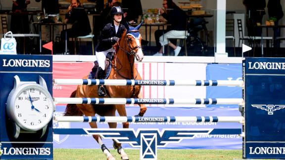 Jennifer Gates competing during the Madrid leg of the Longines Global Champions Tour.