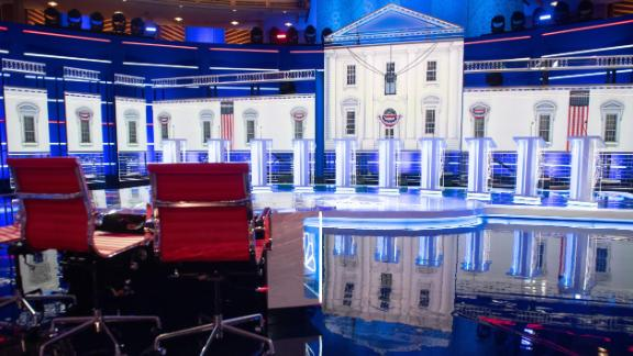 The stage is seen prior to the first Democratic primary debate of the 2020 presidential campaign season at the Adrienne Arsht Center for the Performing Arts in Miami, Florida, June 26, 2019. - Democrats are in Miami, Florida for their first debate -- and first inflection point -- of the 2020 election cycle, with ex-vice president Joe Biden taking the stage as frontrunner for the first time. Ten candidates including Senator Elizabeth Warren square off Wednesday, while Thursday