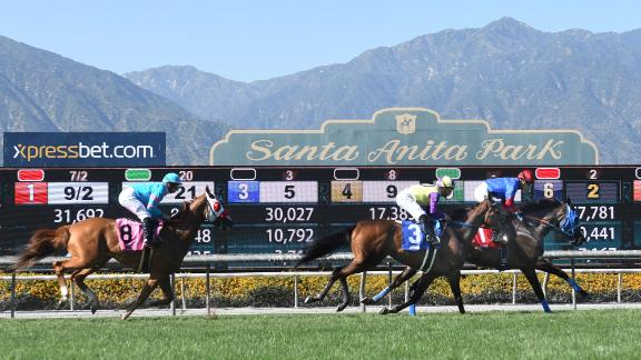 Horses on the turf track for the San Juan Capistrano Stakes on the last day of the Winter-Spring Meet on June 23, 2019, at Santa Anita Park in Arcadia, California.
