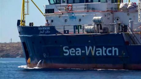 An image grab taken from a video released by Local Team on June 26, 2019, shows the Sea-Watch 3 NGO boat heading towards the Lampedusa island, on the Mediterranean Sea. - The Sea-Watch 3 NGO boat carrying migrants rescued in the Mediterranean is headed for Lampedusa island despite the threat of hefty fines from Italy's far-right interior minister. (Photo by - / LOCALTEAM / AFP) / Italy OUT        (Photo credit should read -/AFP/Getty Images)