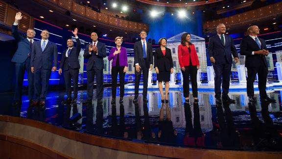 Ten candidates take the stage for the first debate on Wednesday. From left are New York Mayor Bill de Blasio, US Rep. Tim Ryan, Castro, US Sen. Cory Booker, US Sen. Elizabeth Warren, former US Rep. Beto O