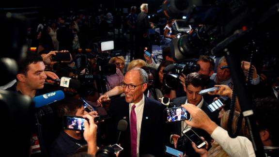 Tom Perez, chairman of the Democratic National Committee, speaks to the media before the start of the debate on Wednesday.