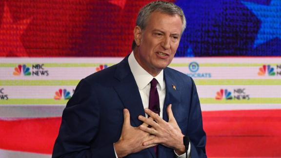 Democratic presidential hopeful Mayor of New York City Bill de Blasio participates in the first Democratic primary debate of the 2020 presidential campaign season hosted by NBC News at the Adrienne Arsht Center for the Performing Arts in Miami, Florida, June 26, 2019.