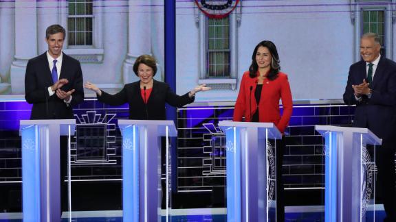 Klobuchar gestures during the first Democratic debates in June 2019.