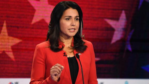Gabbard, an Iraq War veteran from Hawaii, was elected to the House of Representatives in 2012. She is one of six women seeking the Democratic Party