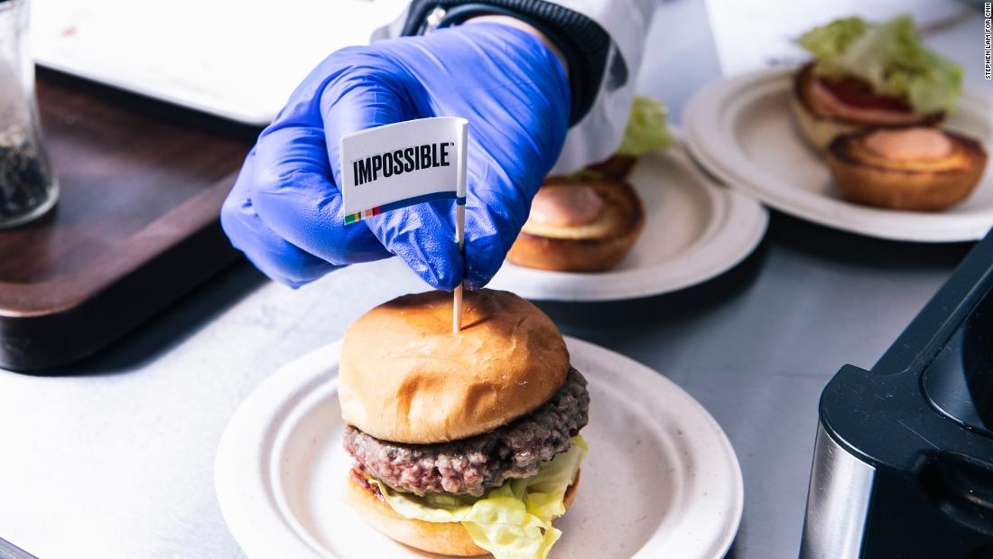Plant-based burger patties made by Impossible Foods contain a genetically modified version of heme, an iron-containing molecule from soy plants, which is what gives them a meaty flavor.