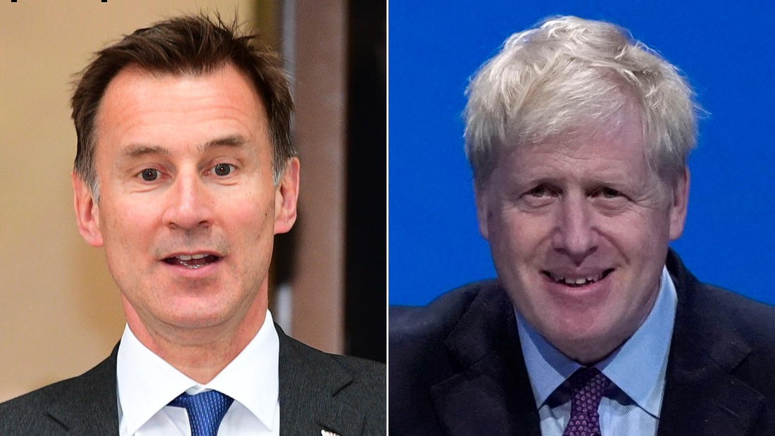 LEFT: LONDON, ENGLAND - JUNE 21: Conservative leadership candidate, Jeremy Hunt leaves a Local Government Association meeting in Westminster on June 21, 2019 in London, England. Jeremy Hunt finished in second place on 77 votes, as Boris Johnson topped yesterday