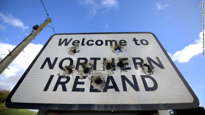 A Welcome to Northern Ireland sign is marked with bullet holes on February 17, 2019 in Ballyconnell, Ireland.