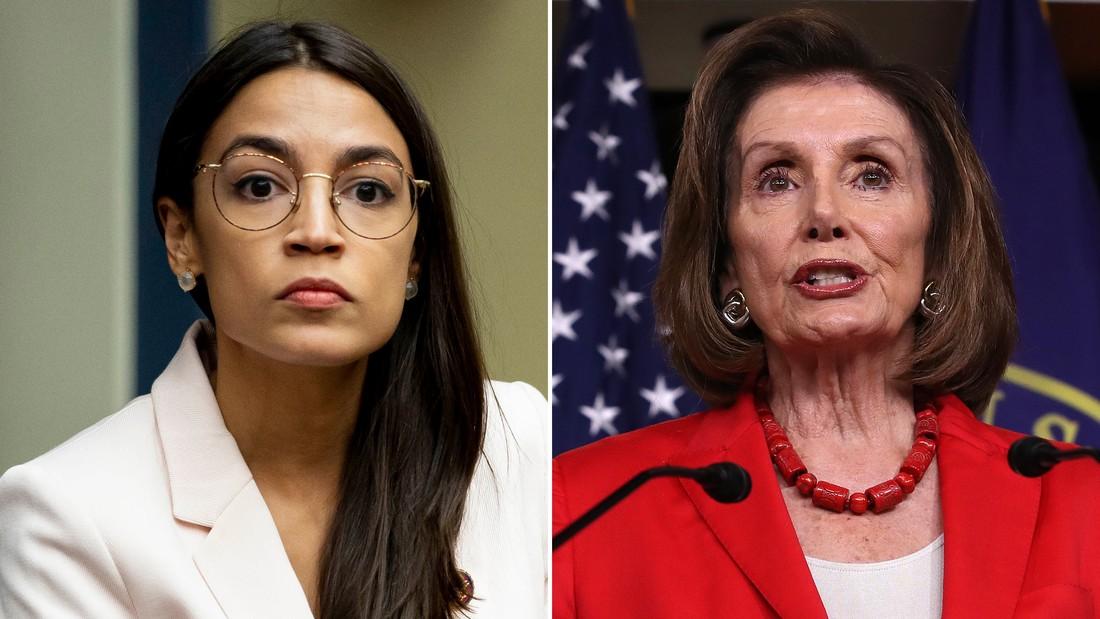 Alexandria Ocasio-Cortez and Nancy Pelosi