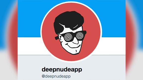 An image of the alleged Twitter account of the DeepNude app, which used AI to take a photo of a clothed woman and replace it with a realistic-looking naked image of her. The app was taken down by its creators a few days after it was released.