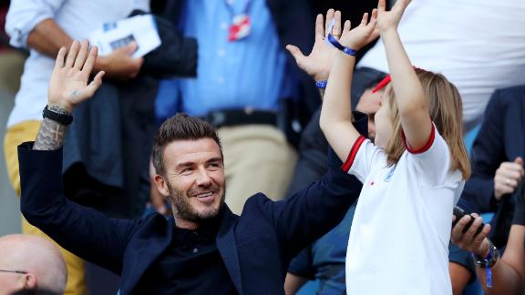 David Beckham watched the match in Le Havre with his daughter, Harper.