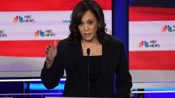 Democratic presidential hopeful US Senator for California Kamala Harris speaks during the second Democratic primary debate of the 2020 presidential campaign season hosted by NBC News at the Adrienne Arsht Center for the Performing Arts in Miami, Florida, June 27, 2019. (Photo by SAUL LOEB / AFP)        (Photo credit should read SAUL LOEB/AFP/Getty Images)