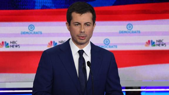 Democratic presidential hopeful Mayor of South Bend, Indiana Pete Buttigieg speaks during the second Democratic primary debate of the 2020 presidential campaign season hosted by NBC News at the Adrienne Arsht Center for the Performing Arts in Miami, Florida, June 27, 2019. (Photo by SAUL LOEB / AFP)        (Photo credit should read SAUL LOEB/AFP/Getty Images)