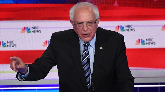 Democratic presidential hopeful US Senator for Vermont Bernie Sanders speaks during the second Democratic primary debate of the 2020 presidential campaign season hosted by NBC News at the Adrienne Arsht Center for the Performing Arts in Miami, Florida, June 27, 2019. (Photo by SAUL LOEB / AFP)        (Photo credit should read SAUL LOEB/AFP/Getty Images)