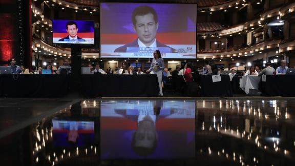 Buttigieg is seen on a monitor inside the spin room where many members of the media were set up. Buttigieg became South Bend