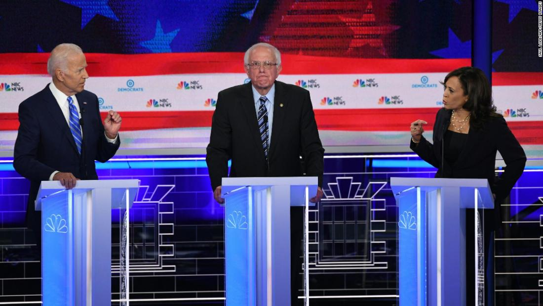 "Harris confronts former Vice President Joe Biden, left, during the first Democratic debates in June 2019. Harris <a href=""https://www.cnn.com/politics/live-news/democratic-debate-june-27-2019/h_b381d219b33e3de6757b4feb63036316"" target=""_blank"">went after Biden</a> over his early-career opposition to federally mandated busing."