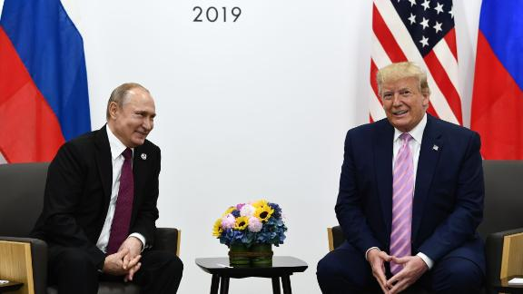 US President Donald Trump (R) attends a meeting with Russia's President Vladimir Putin during the G20 summit in Osaka on June 28, 2019. Brendan Smialowski/AFP/Getty Images