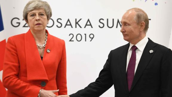 Prime Minister Theresa May meets Russian President Vladimir Putin during the G20 summit in Osaka, Japan. (Photo by Stefan Rousseau/PA Images via Getty Images) 28 June, 2019