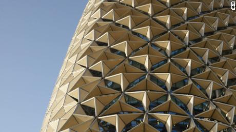 The facades of the Al Bahr tower in Abu Dhabi change their shape according to the time of