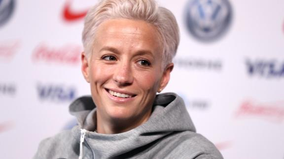 NEW YORK, NEW YORK - MAY 24: Megan Rapinoe of the United States speaks during the United States Women's National Team Media Day ahead of the 2019 Women's World Cup at Twitter NYC on May 24, 2019 in New York City. (Photo by Mike Lawrie/Getty Images)