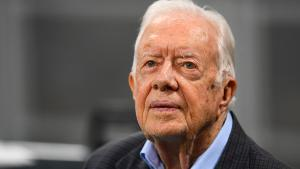 Former president Jimmy Carter prior to the game between the Atlanta Falcons and the Cincinnati Bengals at Mercedes-Benz Stadium on September 30, 2018 in Atlanta, Georgia. (Scott Cunningham/Getty Images)