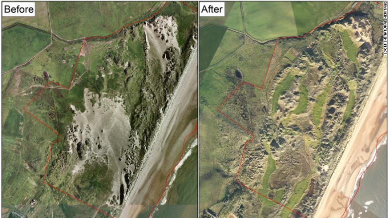A Scottish conservation agency says development of the golf course has damaged about 15% of a protected sand dune habitat.