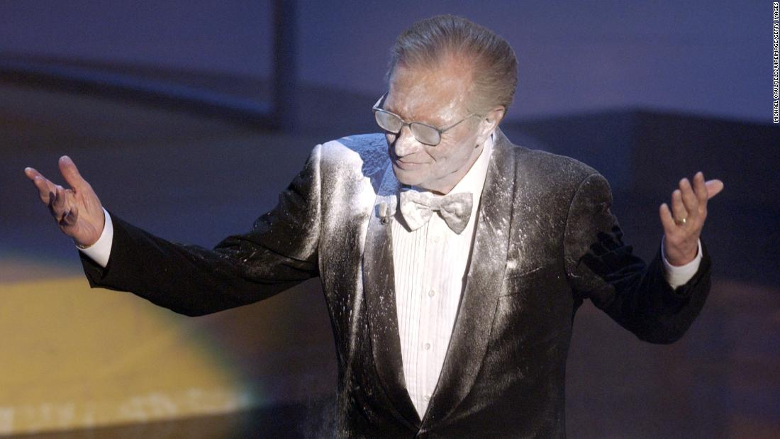 King gets a little too much powder during a bit at the Emmy Awards in 2002.