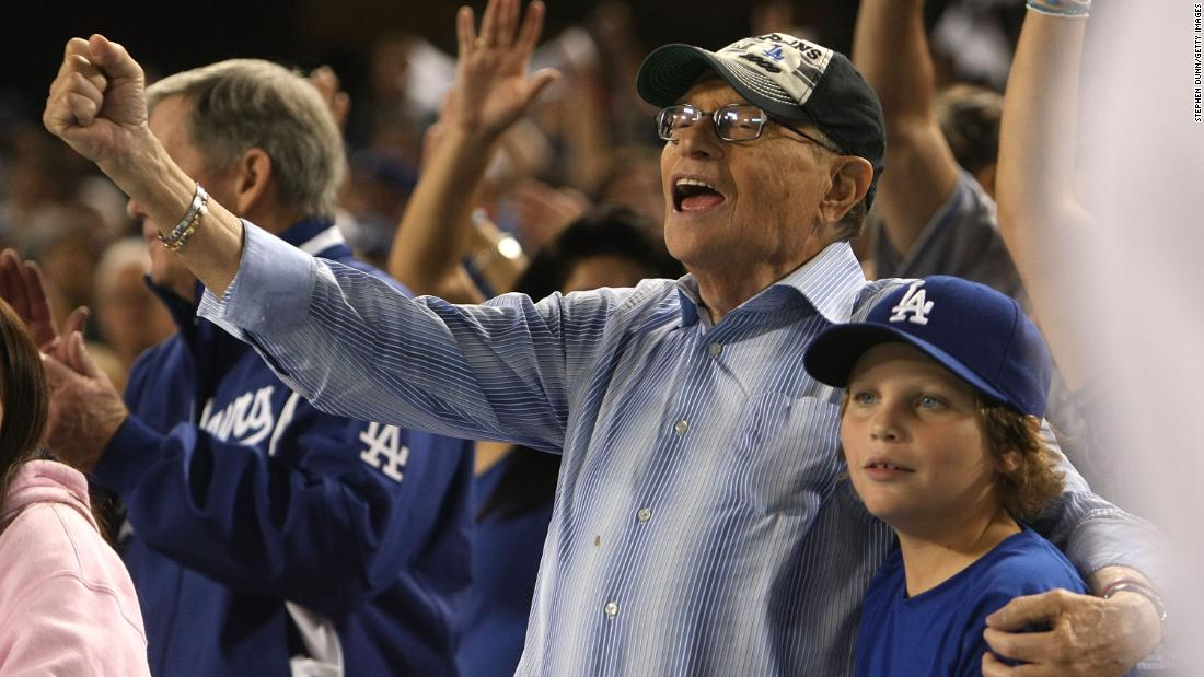 King cheers on the Dodgers during a playoff game in 2009.