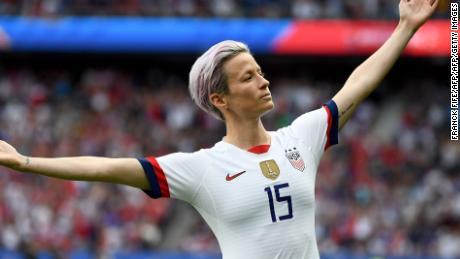 Rapinoe celebrates scoring her team's first goal against France.