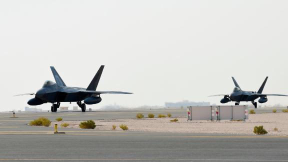 US Air Force F-22 Raptors arrive at Al Udeid Air Base, Qatar, June 27, 2019.