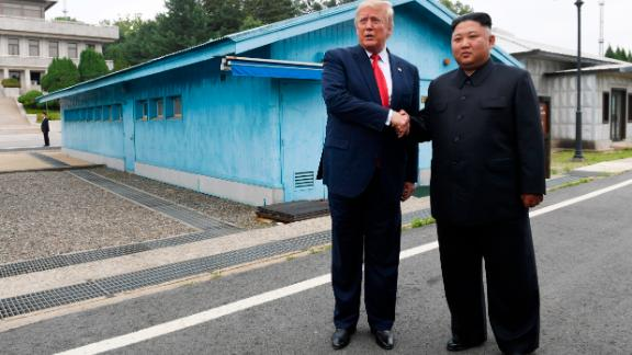 President Donald Trump meets with North Korean leader Kim Jong Un at the border village of Panmunjom in the Demilitarized Zone, South Korea, on Sunday, June 30.
