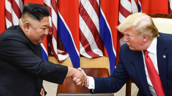 Kim and Trump shake hands during a meeting on the south side of the Military Demarcation Line that divides North and South Korea on June 30.