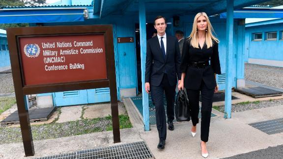 White House Senior Advisors Ivanka Trump and Jared Kushner, walk in the border village of Panmunjom in the Korean Demilitarized Zone in South Korea, on Sunday, June 30.