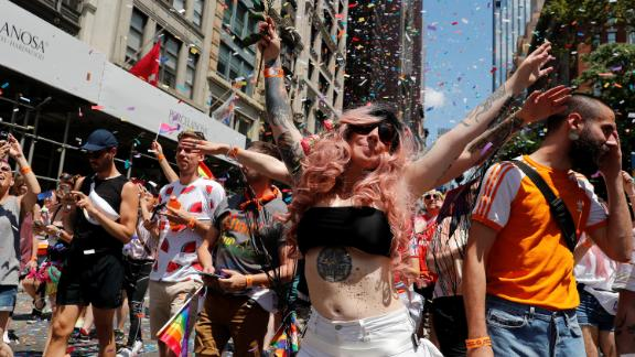 Participants take part in the 2019 World Pride NYC and Stonewall 50th LGBTQ Pride Parade in New York, U.S., June 30, 2019 REUTERS/Jeenah Moon