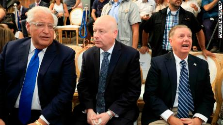 From left to right, US Ambassador to Israel David Friedman, Middle East envoy Jason Greenblatt and US Senator Lindsey Graham at the opening of the site in East Jerusalem.