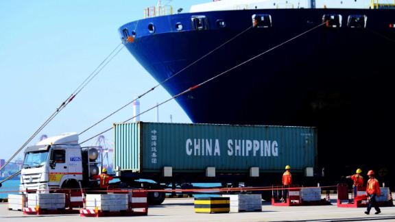 This photo taken on June 24, 2019 shows a container at the Qingdao Port Foreign Trade Container Terminal, in Qingdao, in China's eastern Shandong province. - Top Chinese and US trade negotiators have held telephone talks ahead of a crunch meeting between presidents Xi Jinping and Donald Trump at the G20 summit this week, Chinese state media said on June 25. (Photo by STR / AFP) / China OUT        (Photo credit should read STR/AFP/Getty Images)